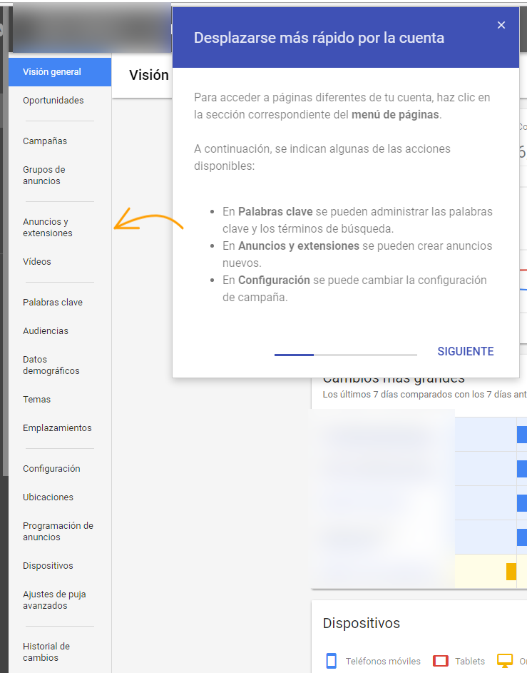 Cambios panel Adwords Beta