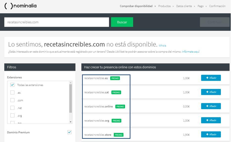 Cuando el dominio que quieres no está disponible, Nominalia te propone dominios alternativos