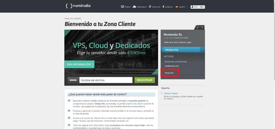 Zona Cliente de Nominalia desde donde acceder al editor Simply Site