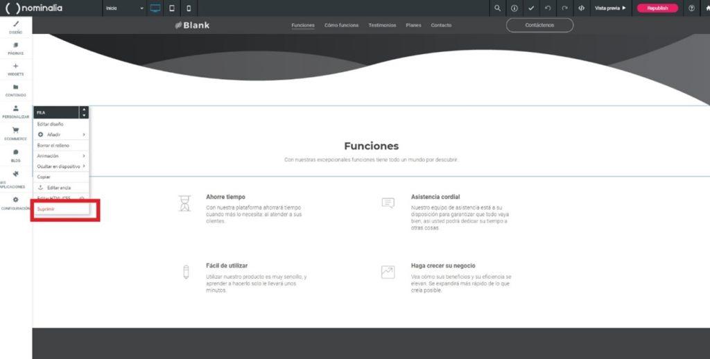 Cómo eliminar secciones en una página en blanco de Simply Site