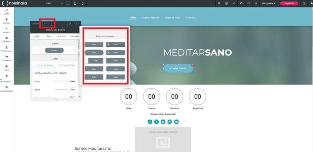 Cómo escoger la forma de los botones de nuestra web en Simply Site