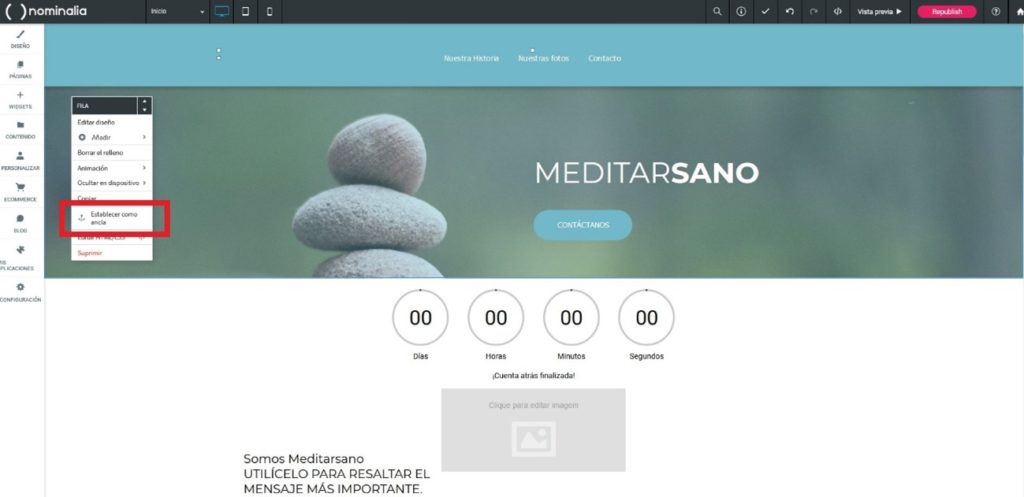 Crear anclas en el editor web Simply Site