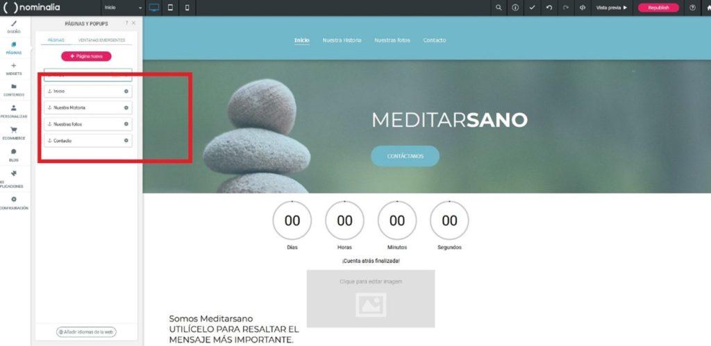Cómo cambiar el orden de las páginas en Simply Site