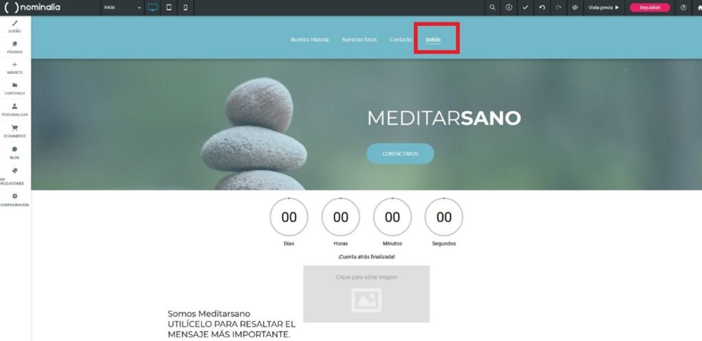 Las anclas conforman el menú de navegación de una web realizada con Simply Site